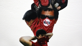 Mass Monument: Protester at the Republican National Convention, New York City, 29th August 2004 (tying bandana), Protester against the disappearance of 43 students, Chilpancingo, Mexico, 11th November 2014 (side profile)...