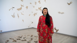 Lindy Lee with her artwork Neither Choice, Nor Chance 2018 in the TarraWarra Biennial 2018: From Will to Form TarraWarra Museum of Art, 2018 Photo: Andrew Curtis